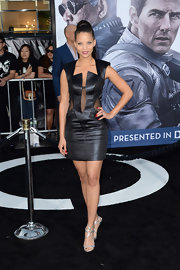 Denise Vasi opted for a sleek and modern LBD when she sported this structured dress, featuring sheer panels.