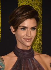 Ruby Rose swiped on some silver eyeshadow for a festive beauty look.