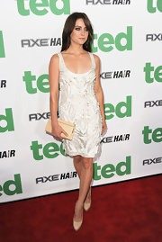 Jessica Stroup wore this uniquely textured cocktail dress to the 'Ted' premiere.