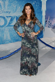 Ali Landry was hippie-chic in a maxi wrap dress during the premiere of 'Frozen.'