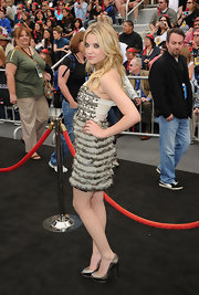 Ashley Benson teamed her flirty ruffled and embellished Alice + Olivia dress with silver Double Platform peep-toes.