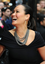 Tia Carrere spruced up a simple ponytail with a pair of huge sterling hoops when she attended the 'Prince of Persia' premiere.