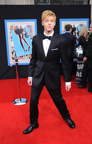 Cameron Monaghan looked sophisticated in black patent leather loafers at the 'Prom' premiere.