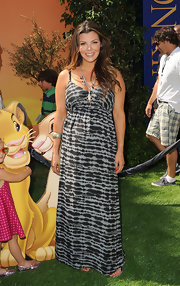 Ali Landry donned a black and gray print maxi dress for the premiere of 'The Lion King 3D.'