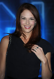 Actress Amanda Righetti attended the premiere of 'TRON: Legacy' wearing a sterling silver, black enamel, and cubic zirconia ring.