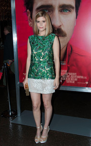 Kate Mara continued the leaf theme with an embroidered white mini skirt, also by J. Mendel.