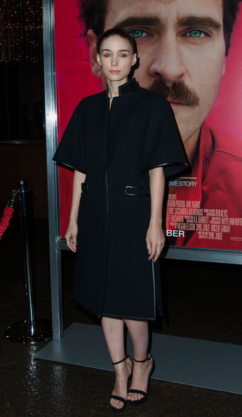 Rooney Mara opted for a boxy black Givenchy coat when she attended the premiere of 'Her' in LA.