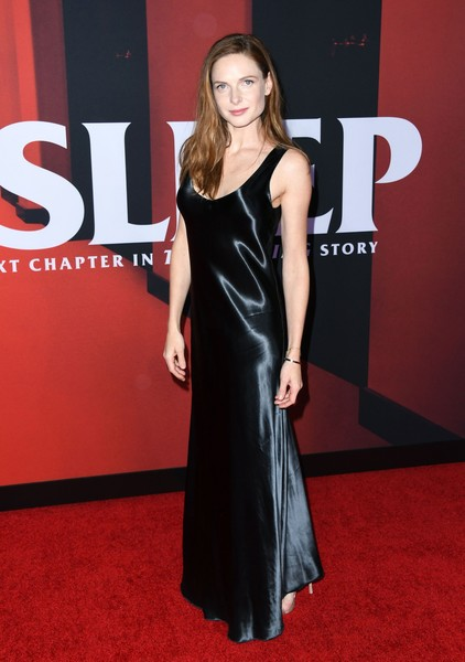 Rebecca Ferguson attended the premiere of 'Doctor Sleep' wearing a simple black satin gown.