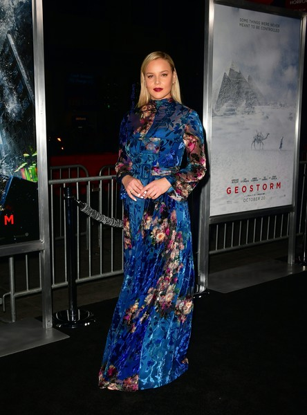 Abbie Cornish was demure and elegant in a flowing floral gown by Alberta Ferretti at the premiere of 'Geostorm.'