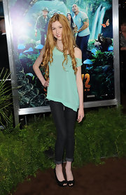 Katherine McNamara accessorized her look with black peep-toe pumps.