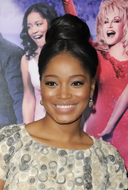 Keke Palmer wore a high classic bun at the premiere of 'Joyful Noise.'