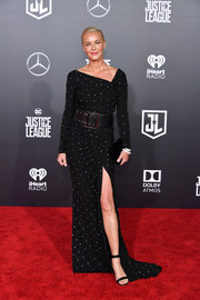 Connie Nielsen complemented her dress with black ankle-strap heels by Gianvito Rossi.