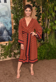 Cush Jumbo looked vibrant in a geometric-print wrap dress by Michael Kors at the premiere of 'The Legend of Tarzan.'