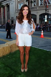 Audrina Patridge was bold at the the premiere of 'The Lucky One' in Hollywood wearing this sheer embroidered blouse and short shorts.