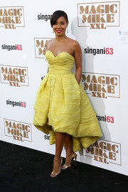 Jada Pinkett Smith oozed summertime sweetness at the 'Magic Mike XXL' premiere in a yellow Ermanno Scervino strapless dress with a fitted bodice and a voluminous high-low skirt.