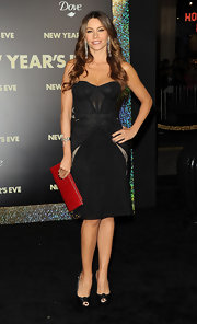 Sofia Vergara showed off her famous curves in a fitted dress. She accessorized the look with black satin peep-toe pumps complete with knotted detailing.
