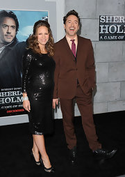 Susan Downey sparkled in a sequined black maternity dress for the 'Sherlock Holmes' premiere.