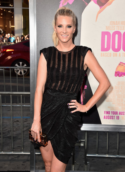 Heather Morris arrived for the premiere of 'War Dogs' carrying a textured gold box clutch.