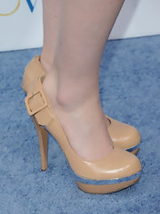 Sarah Drew wore nude platform pumps to the premiere of 'Something Borrowed.'