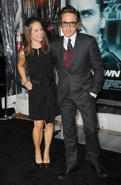 Susan Downey looked very girly in her little black ruffle dress at the premiere of 'Unknown.'
