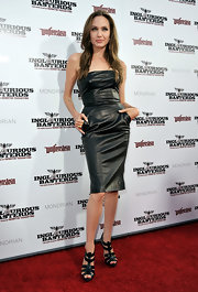 Angelina Jolie finished off her S&M look with a pair of black leather gladiator heels for the 'Inglorious Basterds' premiere.