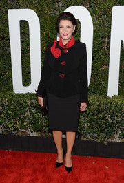 Shohreh Aghdashloo opted for a classic look with this rosette-embellished jacket and pencil skirt combo at the 'Mandela' Hollywood premiere.