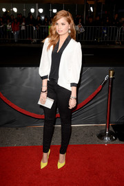 Debby Ryan added a touch of color to her monochrome outfit with a pair of yellow Rene Caovilla pumps.