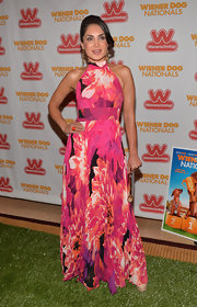 Saye Yabandeh wore this pink floral-print dress to the 'Wiener Dog Nationals' premiere.