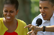 Michelle Obama's beaded hoops were the perfect accent to her updo during the White House Easter Egg Roll.