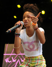 Willow Smith finished her look with Ocean Drive bangles in tri-gold.
