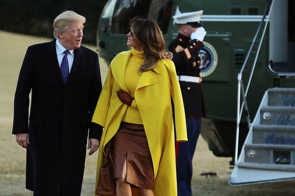 More Pics of Melania Trump Leather Gloves (5 of 10) - Leather Gloves Lookbook - StyleBistro [yellow,outerwear,suit,event,white-collar worker,uniform,melania trump,donald trump,president,mrs,patients,trump return to the white house,u.s.,ohio,sheffer corporation,trip]