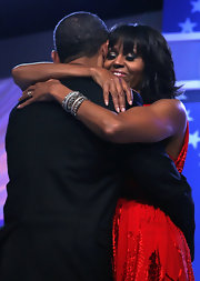 Michelle Obama accessorized with layers of diamond bracelets during the Inaugural Ball.