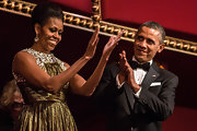 The First Lady paired her glitzy gown with an equally elegantly updo for the Kennedy Center Honors in 2012.