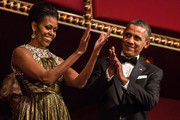 (AFP OUT) U.S. President Barack Obama and first lady Michelle Obama (C) attend the Kennedy Center Honors at the Kennedy Center on December 2, 2012 in Washington, DC. The Kennedy Center Honors recognized seven individuals - Buddy Guy, Dustin Hoffman, David Letterman, Natalia Makarova, John Paul Jones, Jimmy Page, and Robert Plant - for their lifetime contributions to American culture through the performing arts.