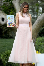 Melania Trump looked darling in a pale-pink maxi dress by Hervé Pierre during the White House Easter Egg Roll.