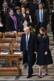 Melania Trump complemented her coat with a pair Christian Louboutin So Kate pumps.