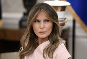 Melania Trump wore her signature center-parted style while attending a meeting at the Oval Office.