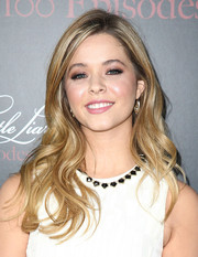 Sasha Pieterse looked very pretty wearing her hair in beachy waves during the 'Pretty Little Liars' 100th episode celebration.