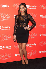 Shay Mitchell looked sultry yet elegant at the 'Pretty Little Liars' finale screening in a Yeojin Bae LBD with a see-through lace bodice.