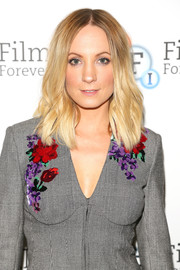 Joanne Froggatt attended the preview of 'Liar' wearing her hair in beachy waves.