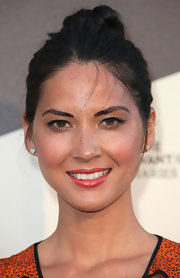 Olivia Munn sported a cute classic bun while at the Museum of Contemporary Art in Los Angeles.
