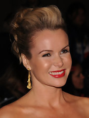 Amanda Holden looked glam with her hair pinned up to show off her neck and shoulders.