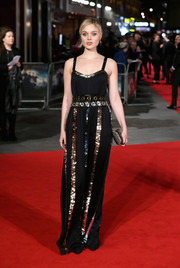 Bella Heathcote glittered in a black Lanvin gown with sequined stripes at the European premiere of 'Pride and Prejudice and Zombies.'