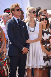 Beatrice Borromeo looked breezy in a sleeveless white dress at the Throne Celebrations.