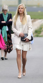 Chelsy Davy looked demure in nude patent platform pumps at Prince Harry's Army Pilot's Course graduation.