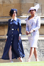 Abigail Spencer looked darling in a navy polka-dot shirtdress by Alessandra Rich at the wedding of Prince Harry and Meghan Markle.