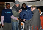 Prince Harry bundled up with a gray striped beanie for his visit to Botswana.