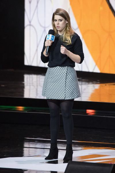 Princess Beatrice Mini Skirt [clothing,fashion,green,performance,beauty,yellow,snapshot,lady,leg,footwear,beatrice,l-r,wembley arena,london,england,day uk,we day uk]