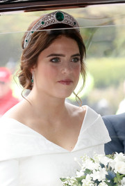 Princess Eugenie adorned her hair with the stunning Greville Emerald Kokoshnik tiara, lent to her by the Queen.