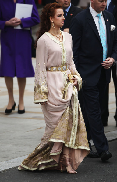 Princess Lalla Salma Embroidered Dress [hair,clothing,fashion,lady,fashion model,dress,formal wear,hairstyle,footwear,joint,lalla salma of morocco,archbishop,departures,marriage,second,line,throne,london,abbey,royal wedding - carriage procession to buckingham palace]